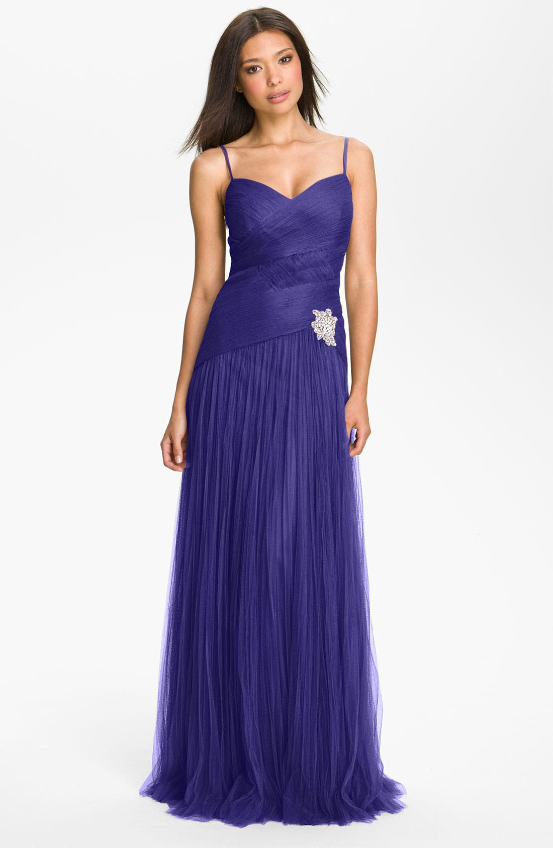 Alternate Image 1 Selected - Veni Infantino Textured Drop Waist Tulle Gown & Shrug