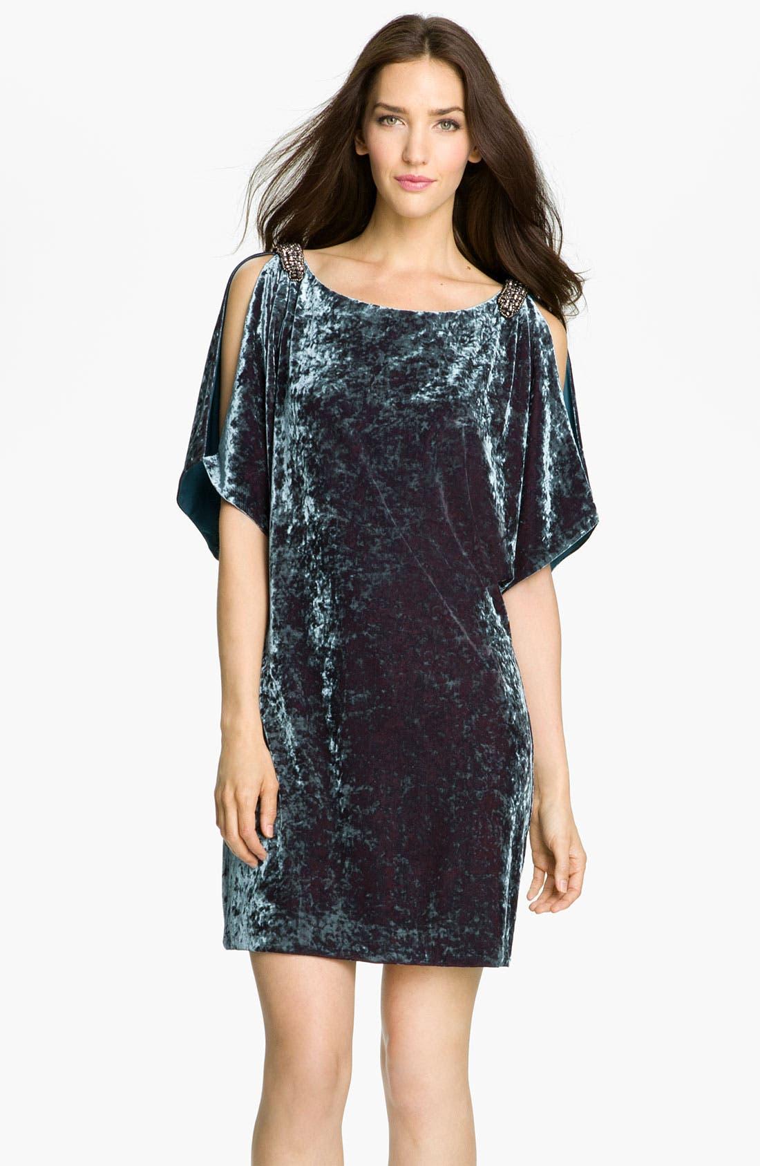 Alternate Image 1 Selected - Aidan Mattox Split Sleeve Crushed Velvet Shift Dress