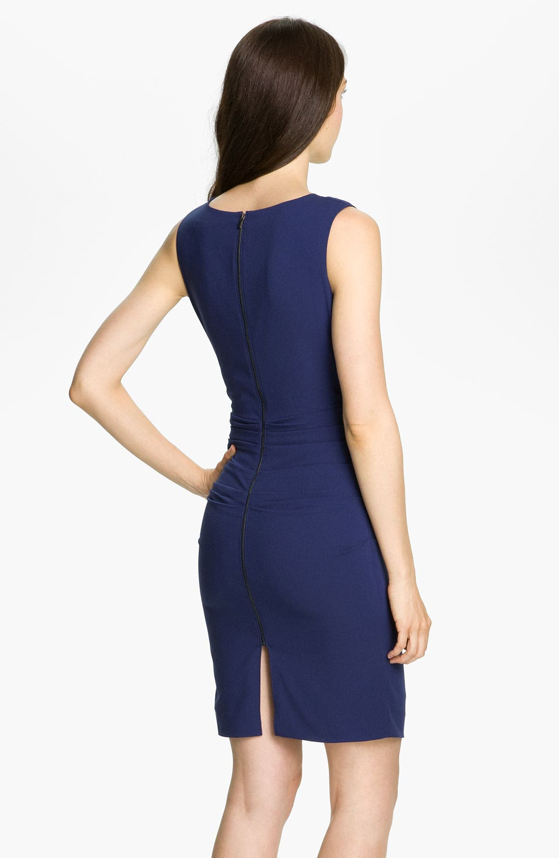 Alternate Image 2  - BCBGMAXAZRIA Ruched V-Neck Crepe Sheath Dress