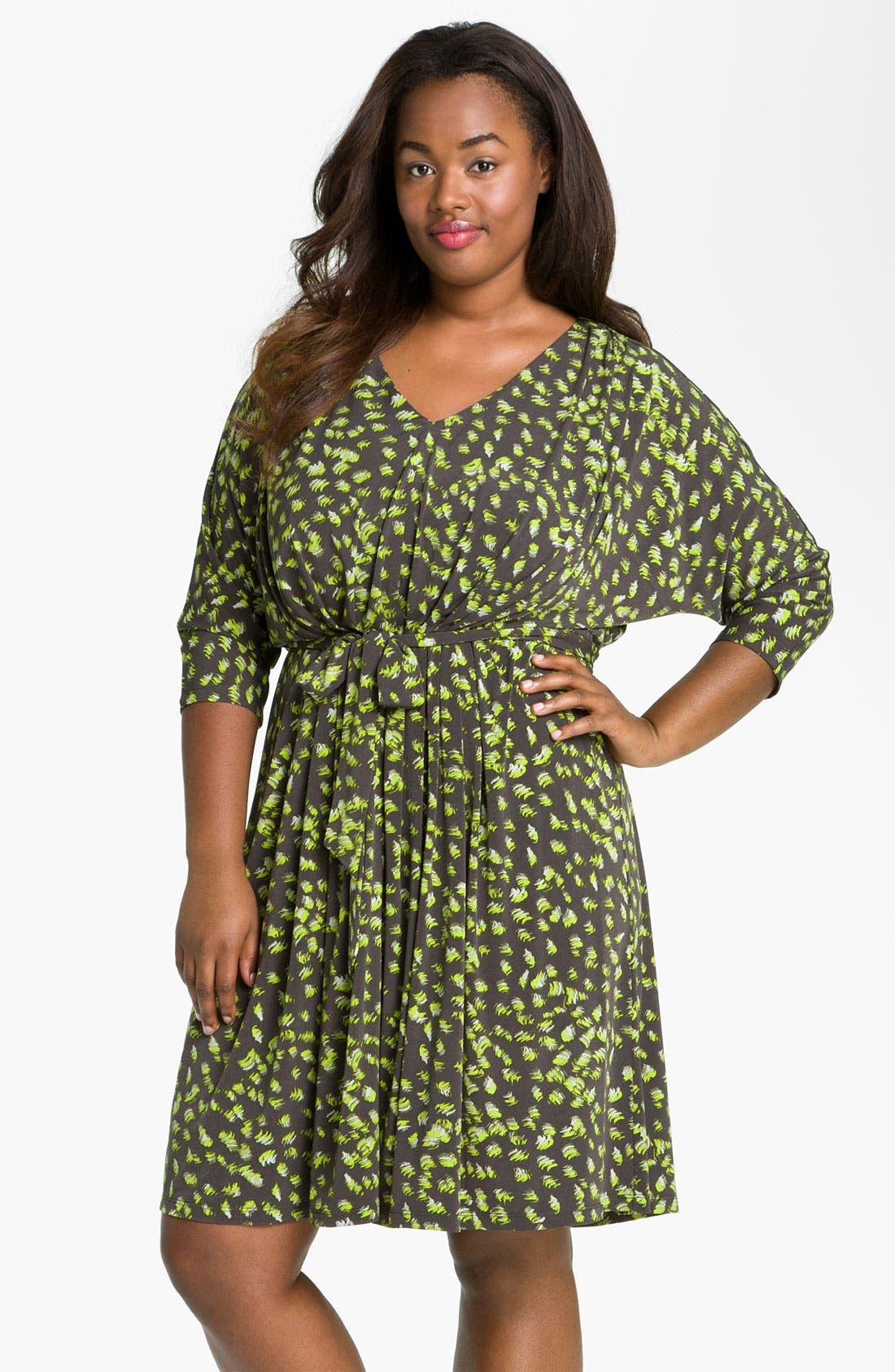 Main Image - Suzi Chin for Maggy Boutique Tie Front Print Dress (Plus)