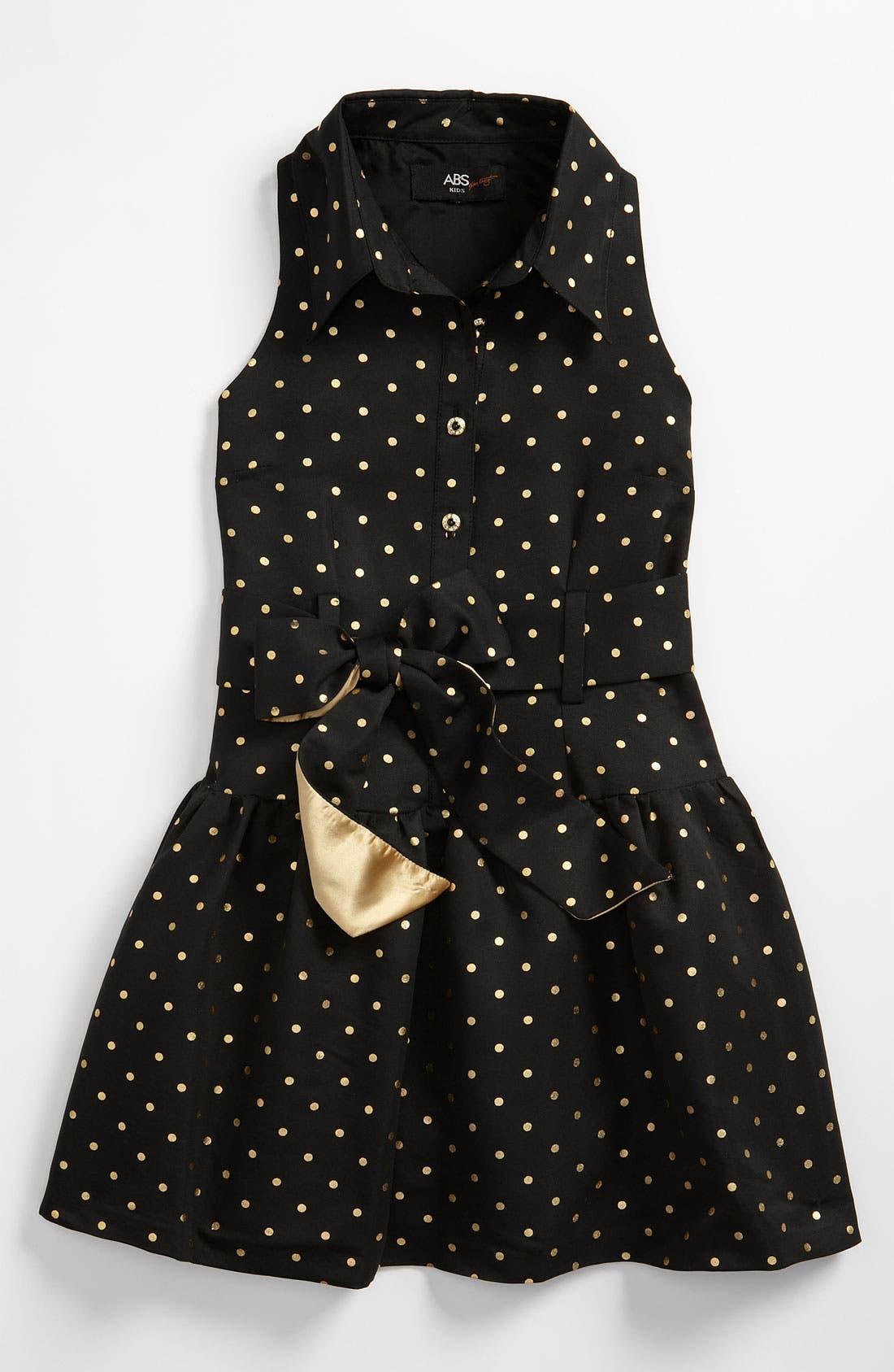 Alternate Image 1 Selected - ABS by Allen Schwartz Polka Dot Shirtdress (Big Girls)