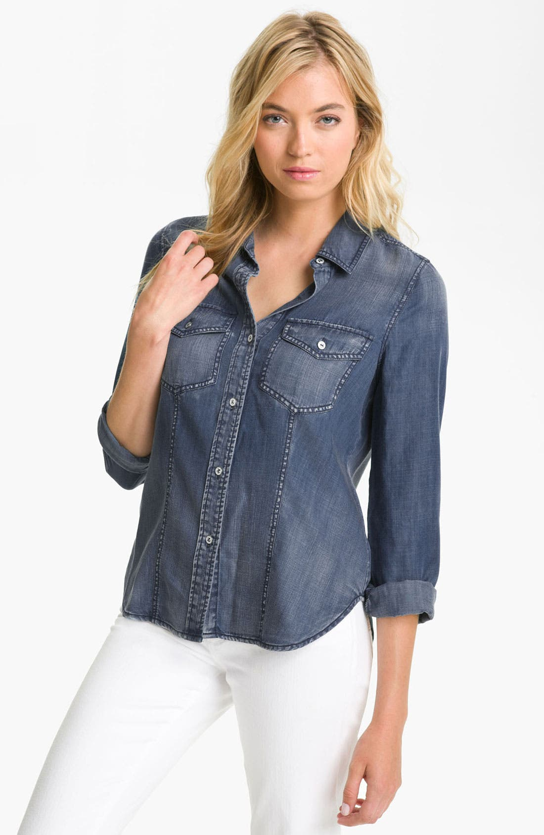 Main Image - Trouvé Faded Denim Shirt