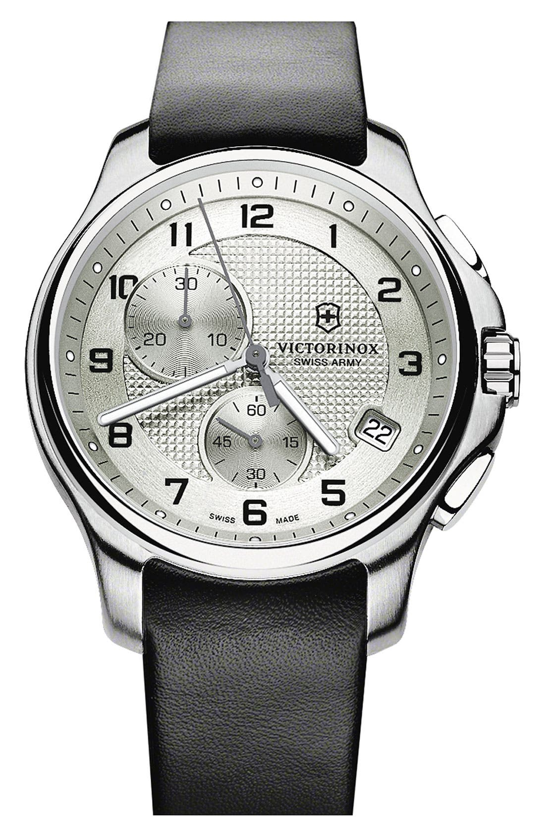 Alternate Image 1 Selected - Victorinox Swiss Army® 'Officer's' Leather Strap Chronograph Watch, 42mm