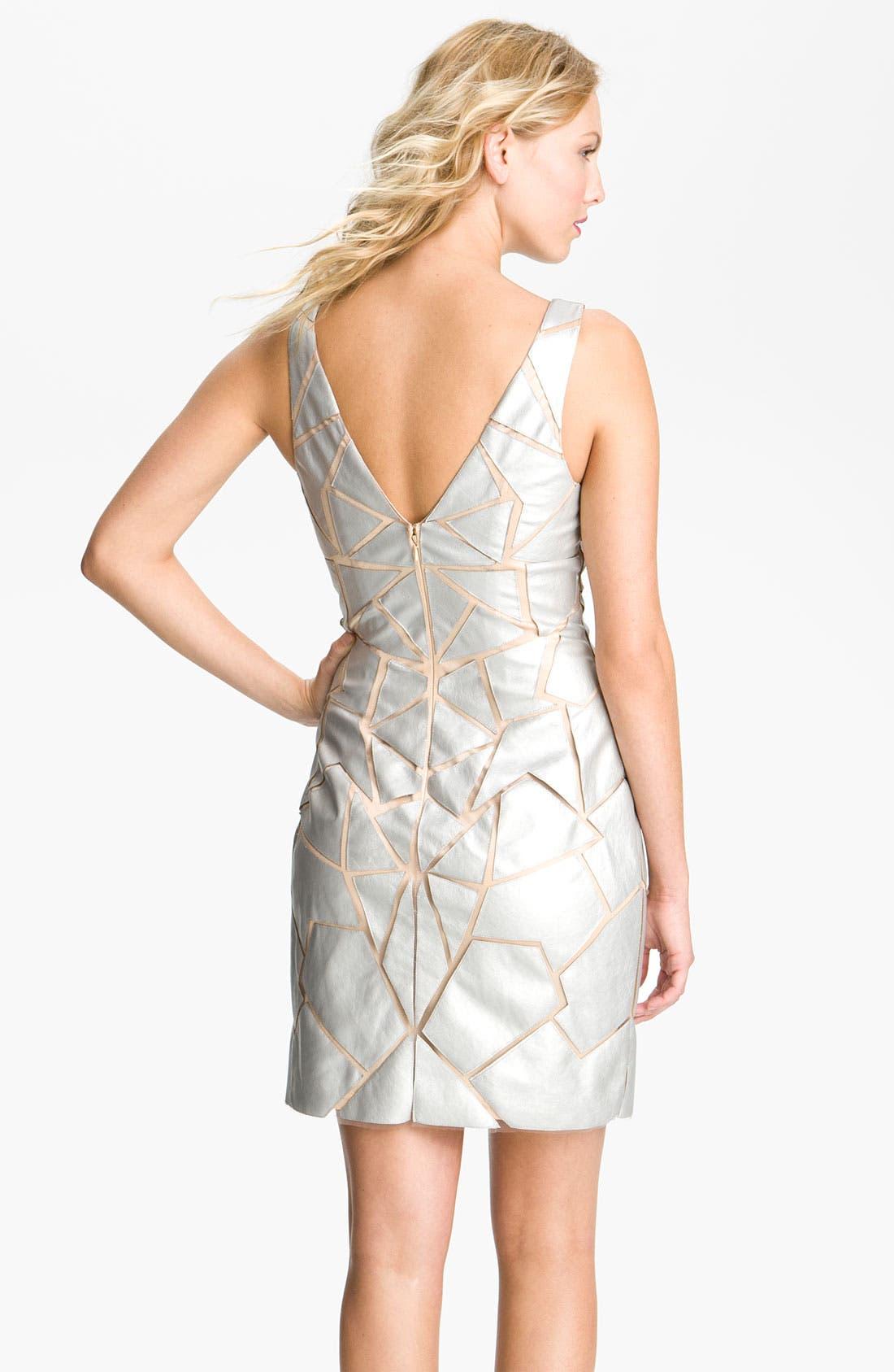 Alternate Image 2  - Aidan Mattox Geometric Appliqué Tulle Sheath Dress