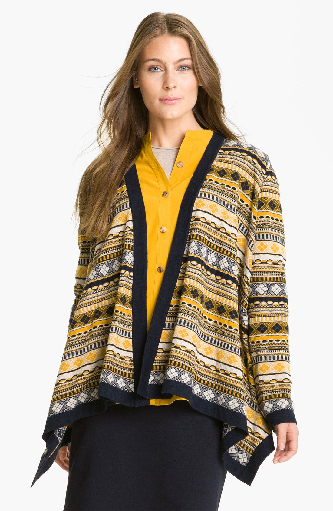 Main Image - Lafayette 148 New York Print Open Front Cardigan