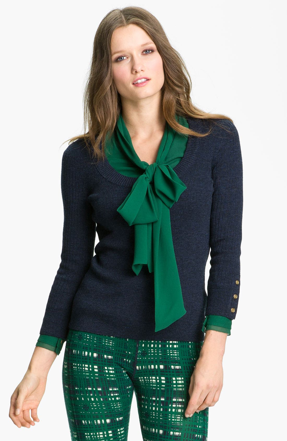 Alternate Image 1 Selected - Tory Burch 'Rayna' Merino Wool Sweater