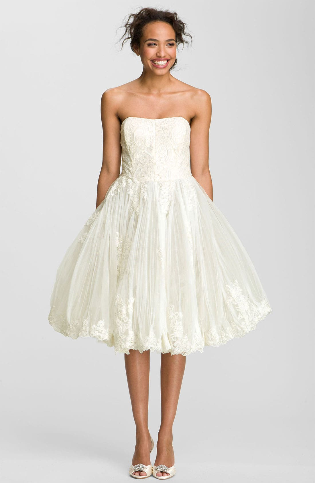 Alternate Image 1 Selected - Ted Baker London 'Raul' Strapless Tulle Fit & Flare Dress