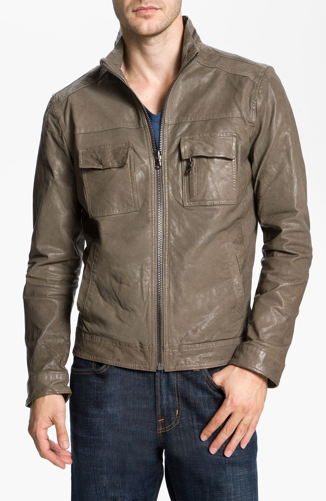 Main Image - Kenneth Cole New York Leather Motorcycle Jacket
