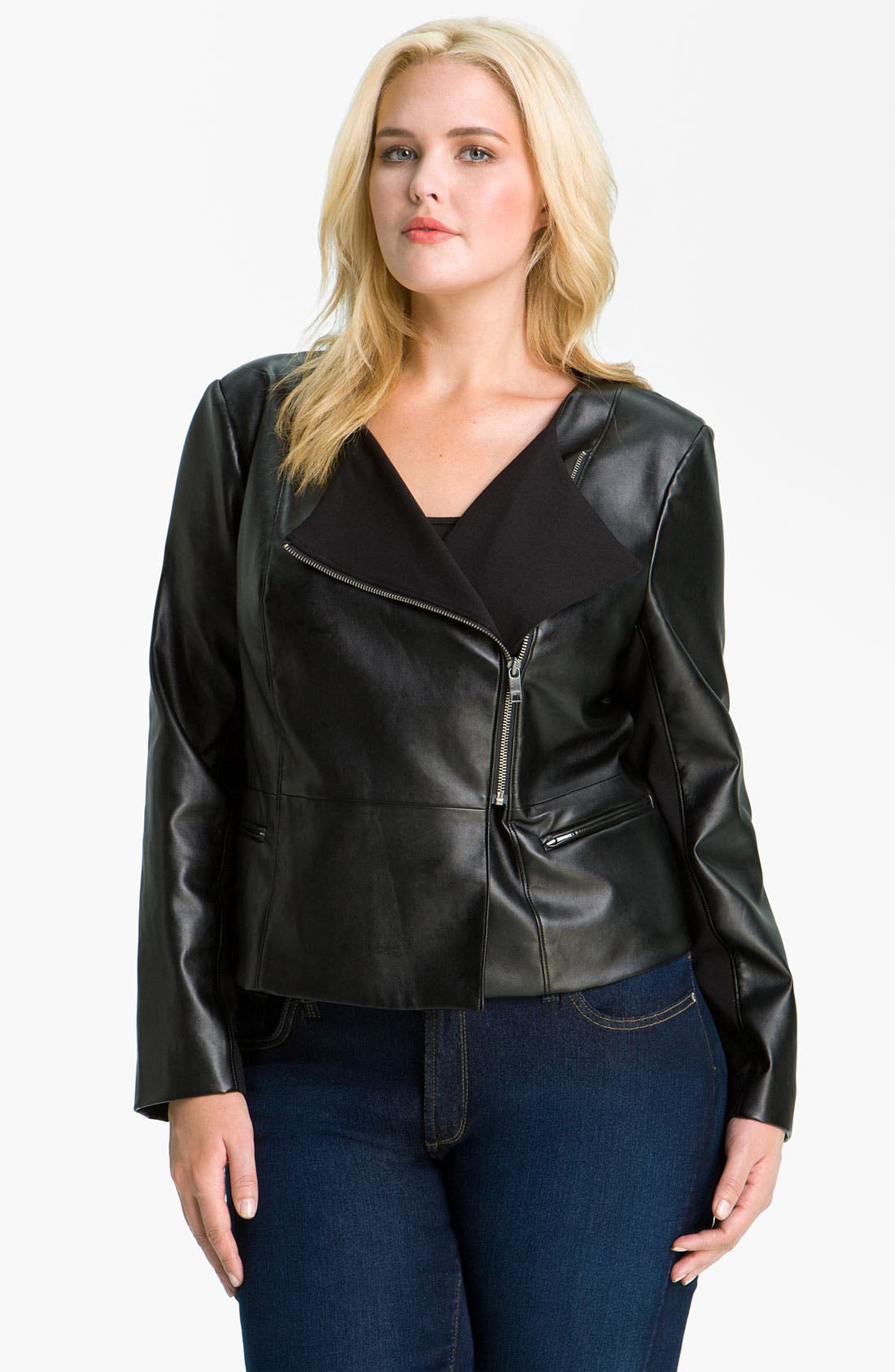 Alternate Image 1 Selected - DKNYC Faux Leather Moto Jacket (Plus)