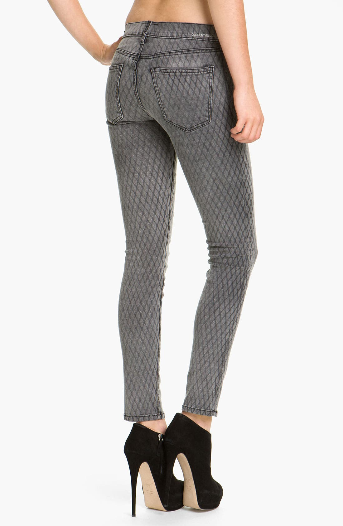 Alternate Image 2  - Current/Elliott Print Stretch Skinny Jeans (Fishnet)