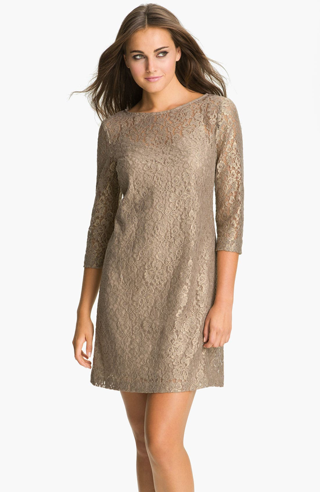 Main Image - Donna Morgan Elbow Sleeve Lace Shift Dress