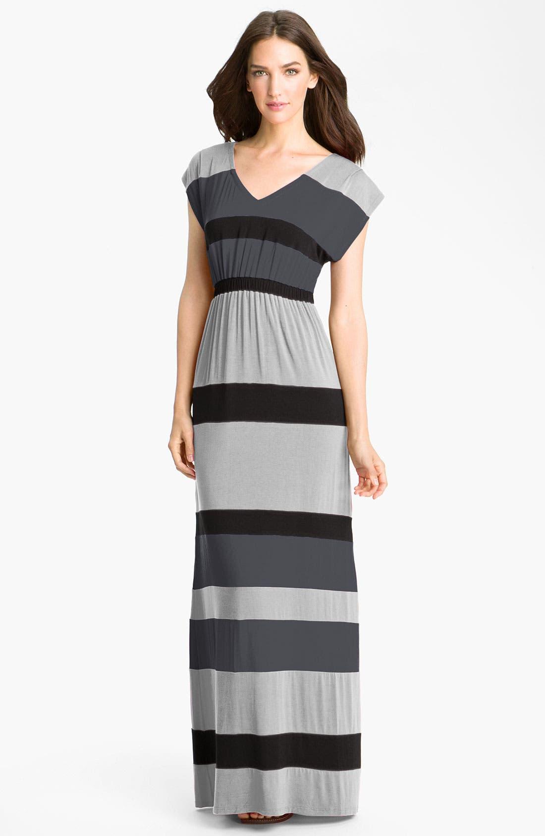 Main Image - Current Affair Stripe V-Neck Maxi Dress