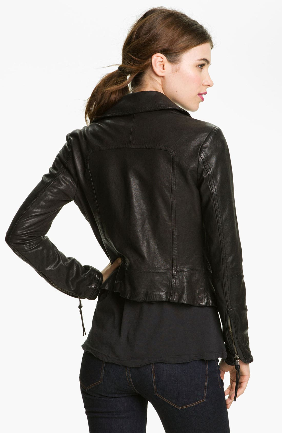 Alternate Image 2  - June Leather Biker Jacket