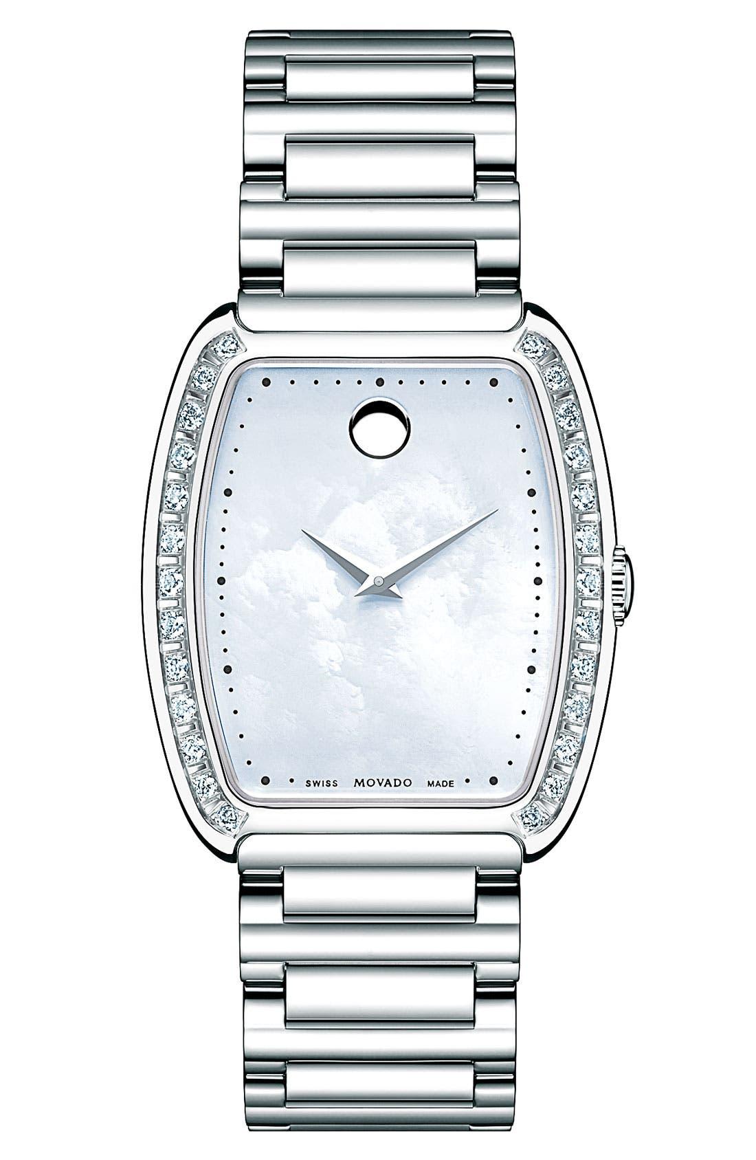Main Image - Movado 'Concerto' Tonneau Diamond Bracelet Watch