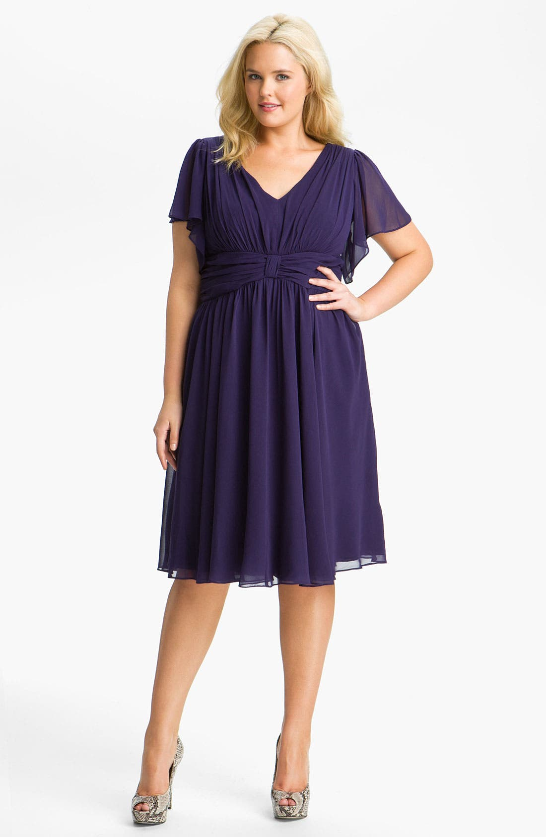 Main Image - Ivy & Blu Flutter Sleeve Dress (Plus)