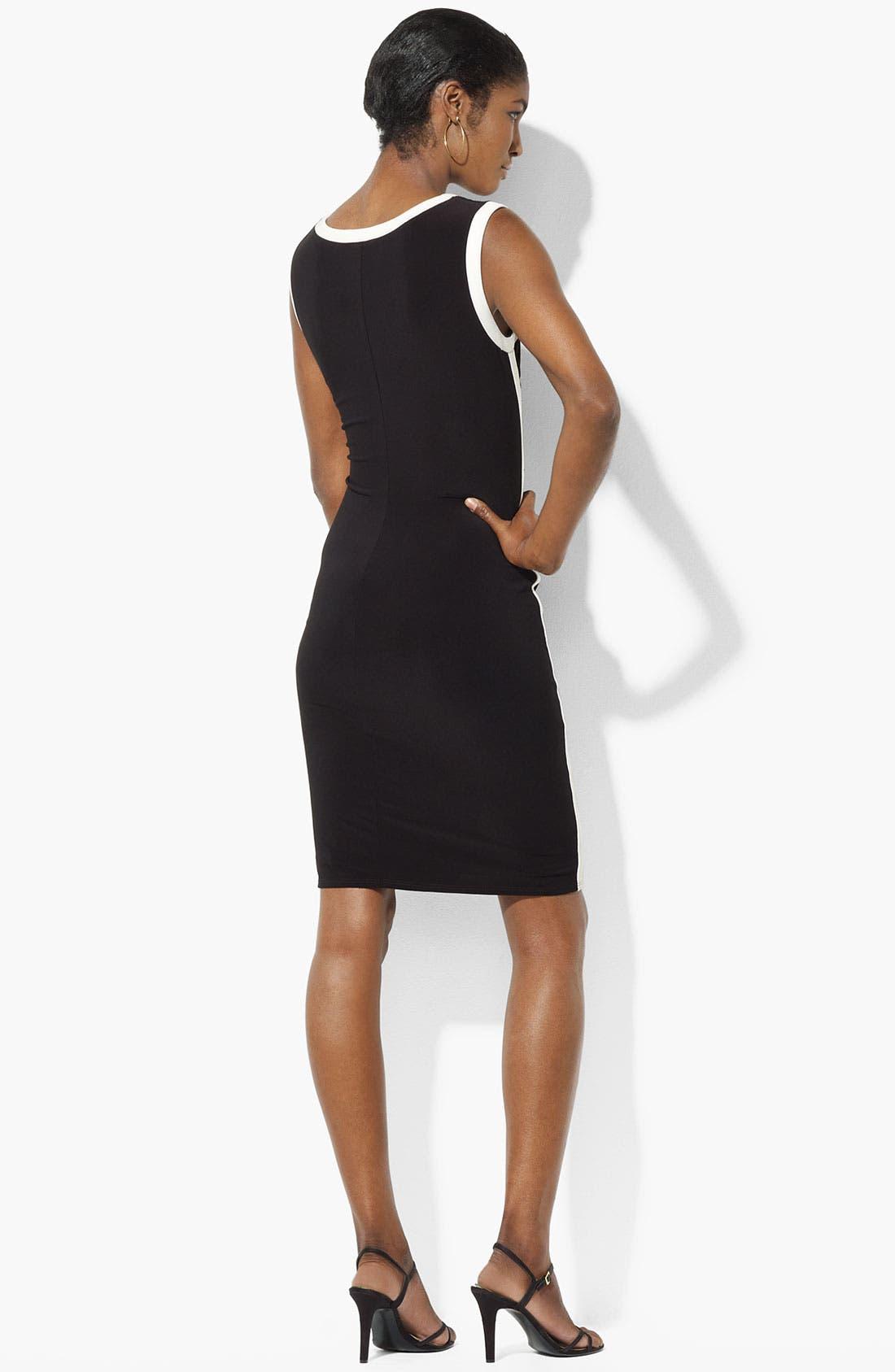 Alternate Image 2  - Lauren Ralph Lauren Contrast Trim Jersey Sheath Dress
