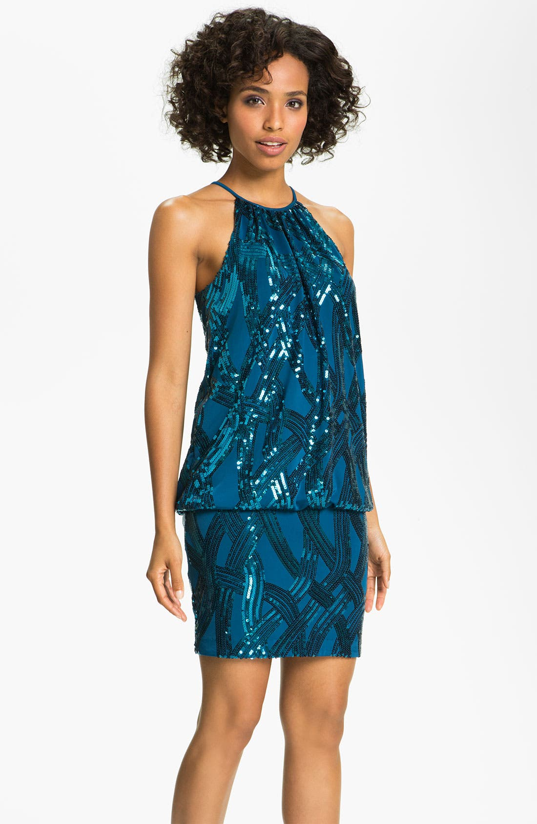 Alternate Image 1  - JS Boutique Sequin Mesh Blouson Dress