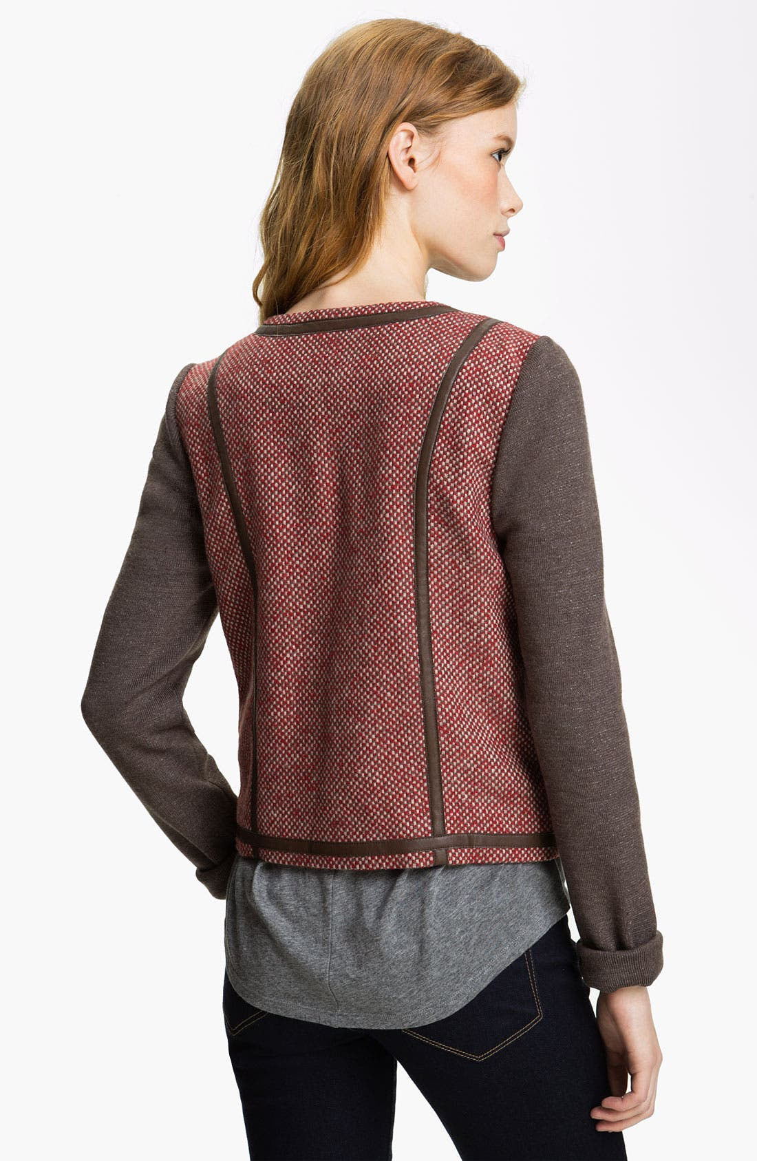 Alternate Image 2  - Hinge® Knit Sleeve Tweed Jacket