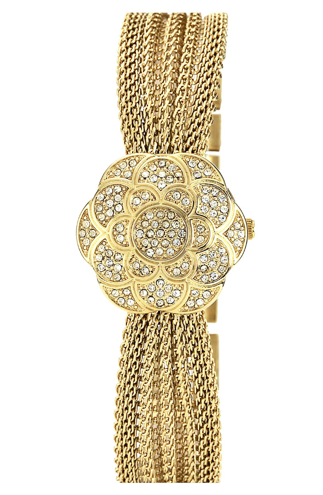 Alternate Image 2  - Anne Klein Flower Case Chain Bracelet Watch, 18mm