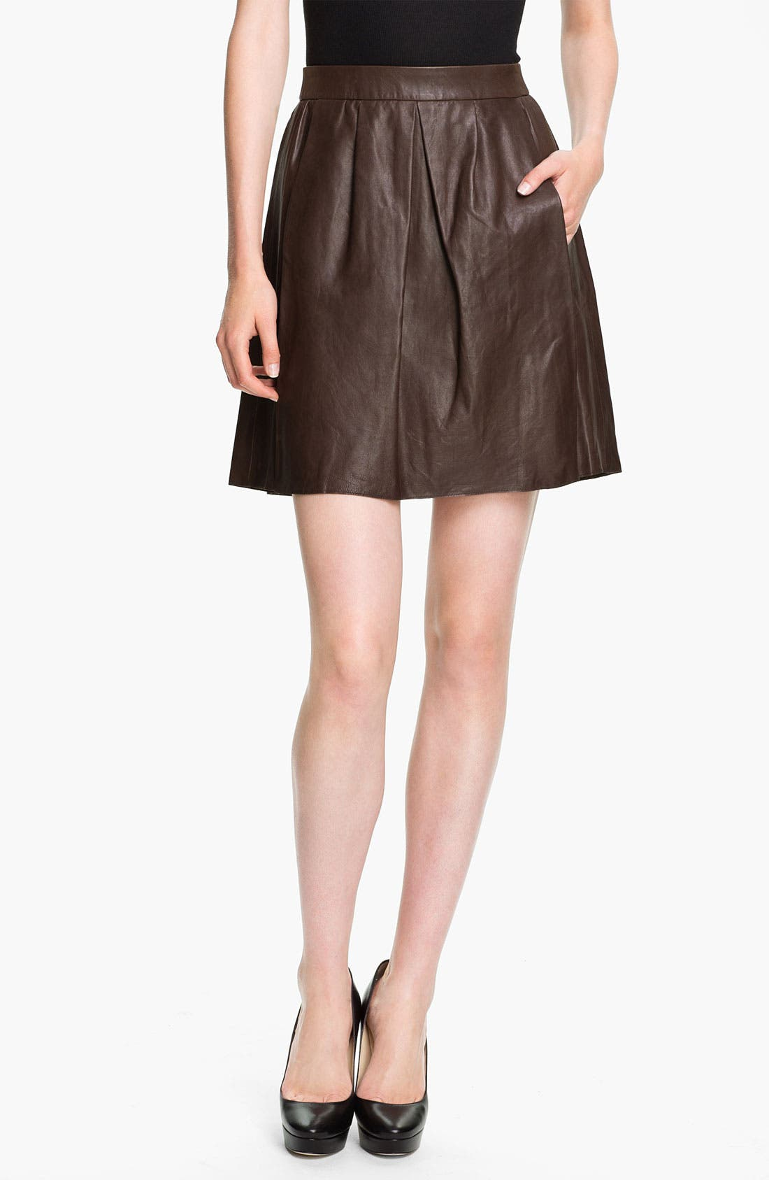 Main Image - Vince Pleated Leather Skirt