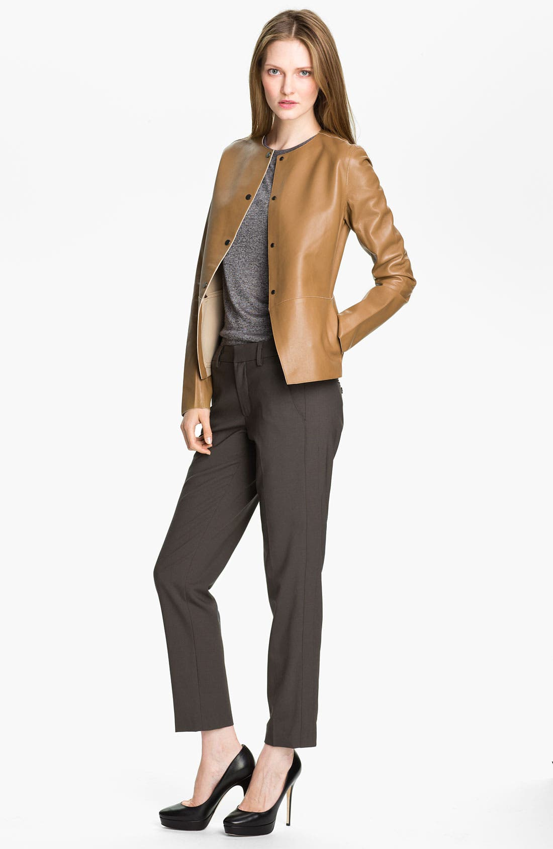 Alternate Image 1 Selected - Vince Snap Front Leather Jacket