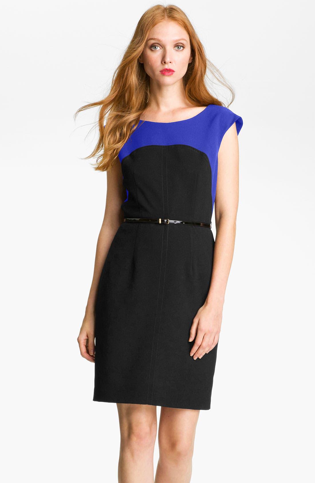 Alternate Image 1 Selected - Calvin Klein Colorblock Belted Sheath Dress
