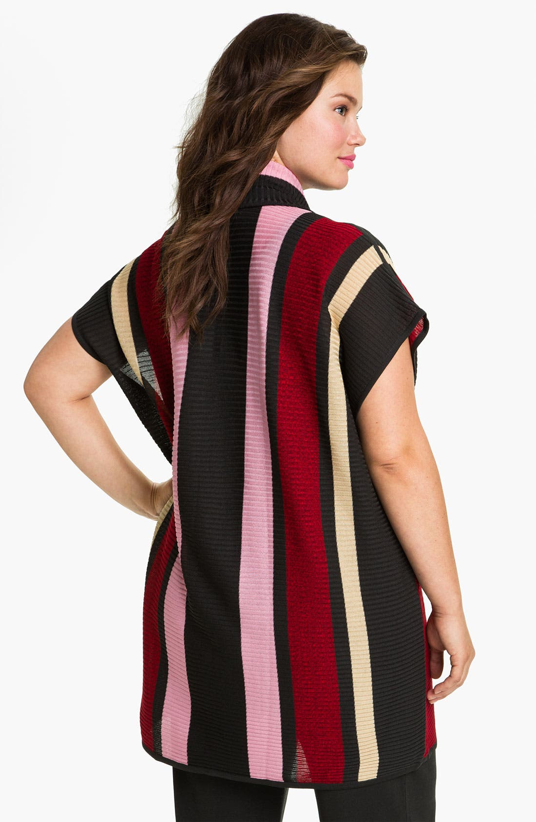 Alternate Image 2  - Exclusively Misook Stripe Ribbed Sweater Vest (Plus)