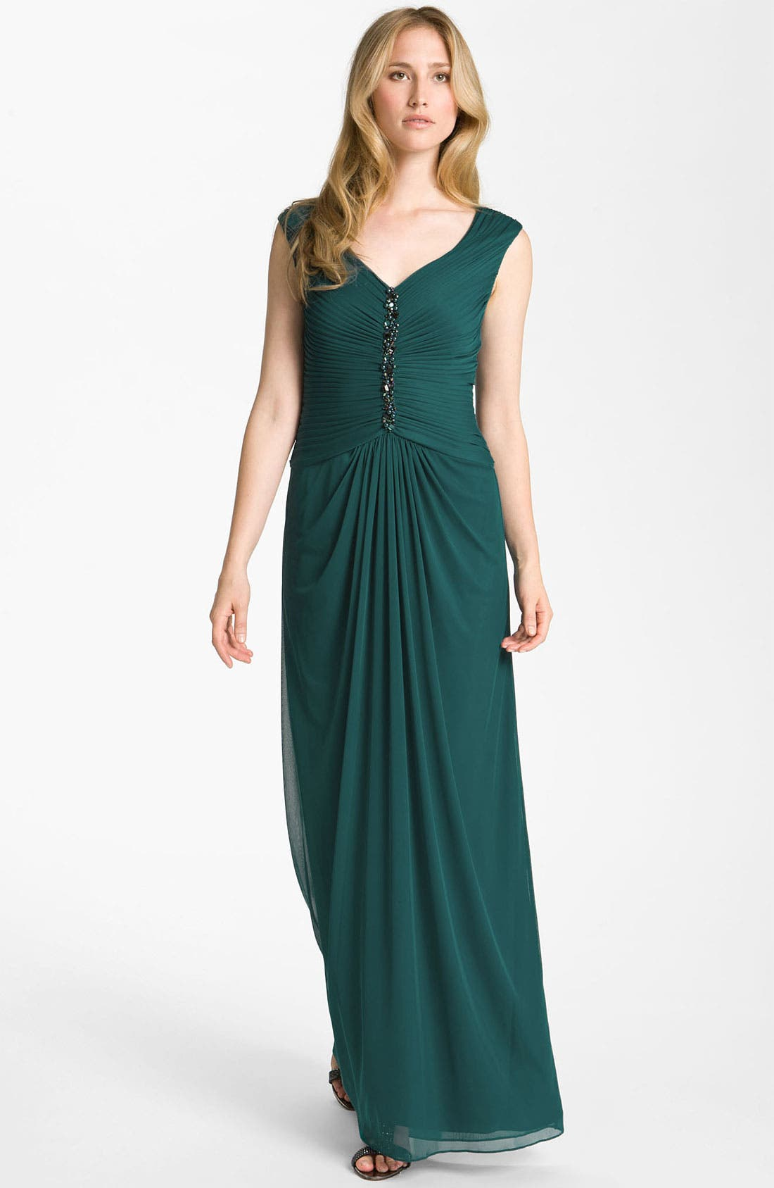 Alternate Image 1 Selected - Adrianna Papell Embellished Pleated Bodice Mesh Gown (Petite)