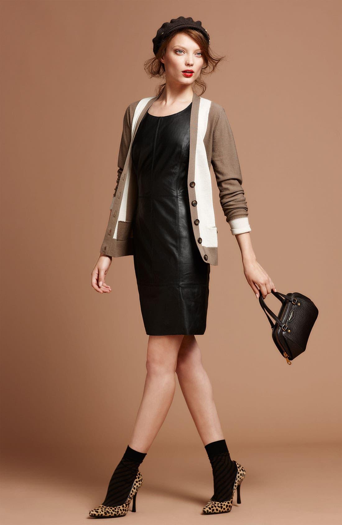 Alternate Image 4  - Halogen® Leather Front Sheath Dress