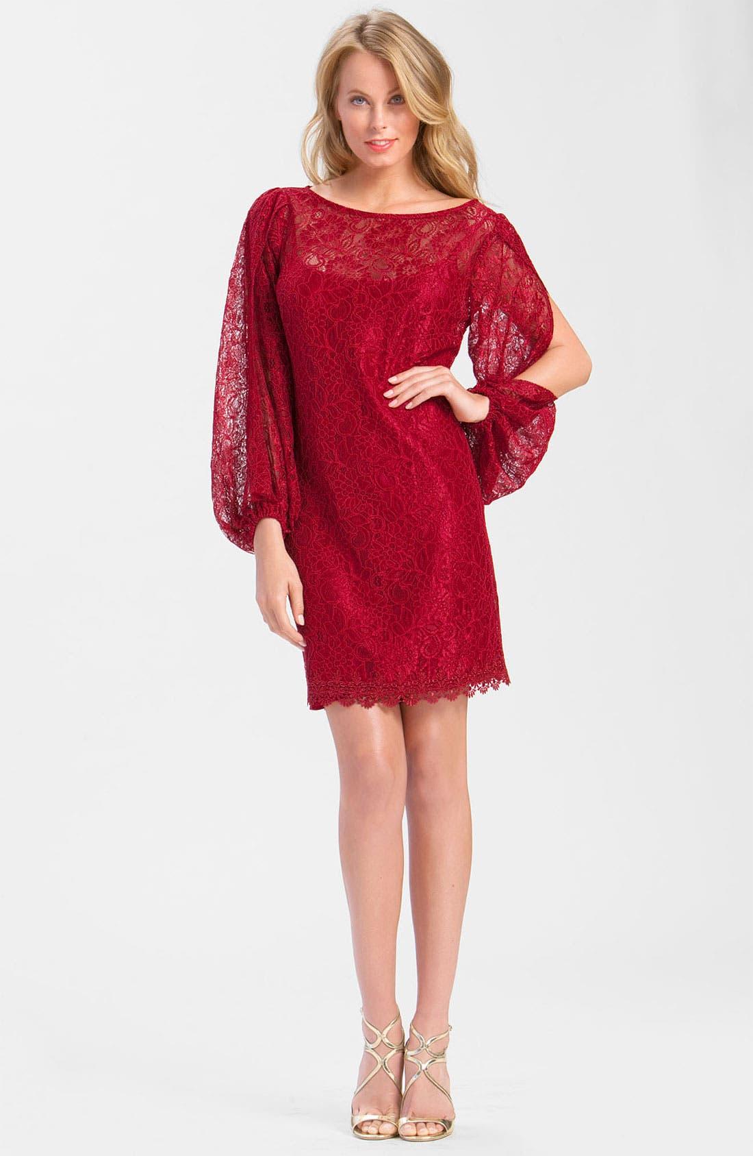 Alternate Image 3  - Laundry by Shelli Segal Split Sleeve Lace Dress