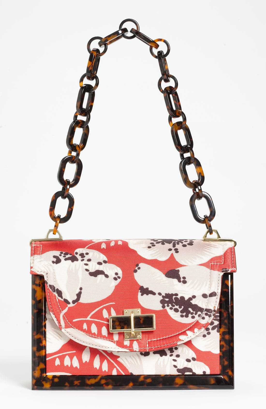 Main Image - Tory Burch Print Faille & Resin Frame Shoulder Bag