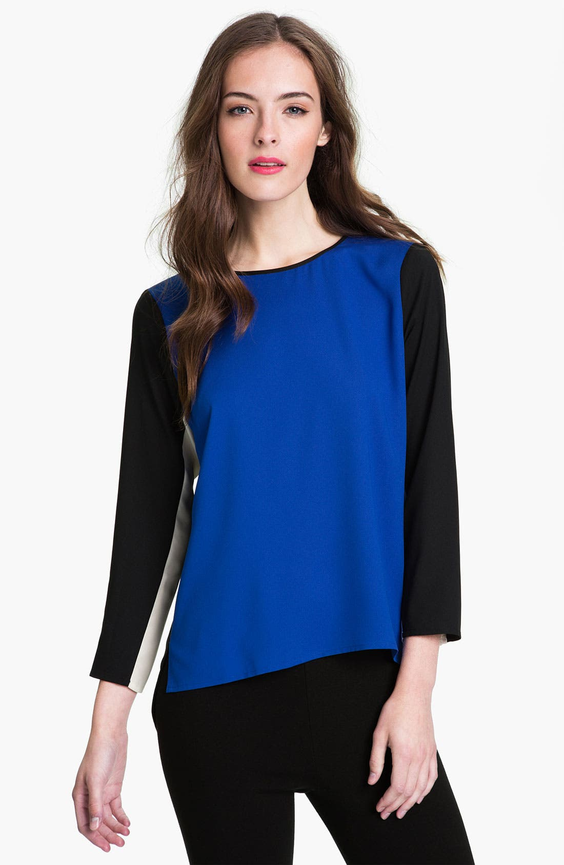 Main Image - Vince Camuto Colorblock Keyhole Back Blouse