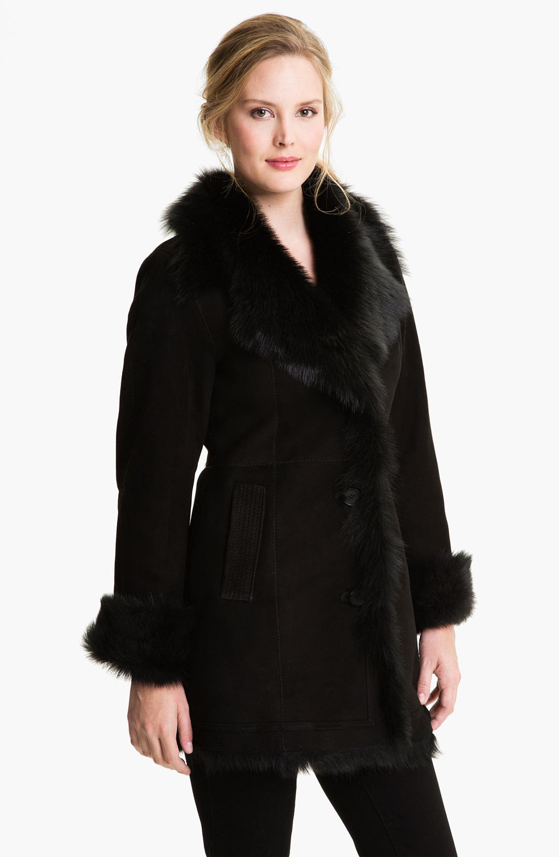 Alternate Image 1 Selected - HIDESOCIETY Notch Collar Genuine Shearling Coat