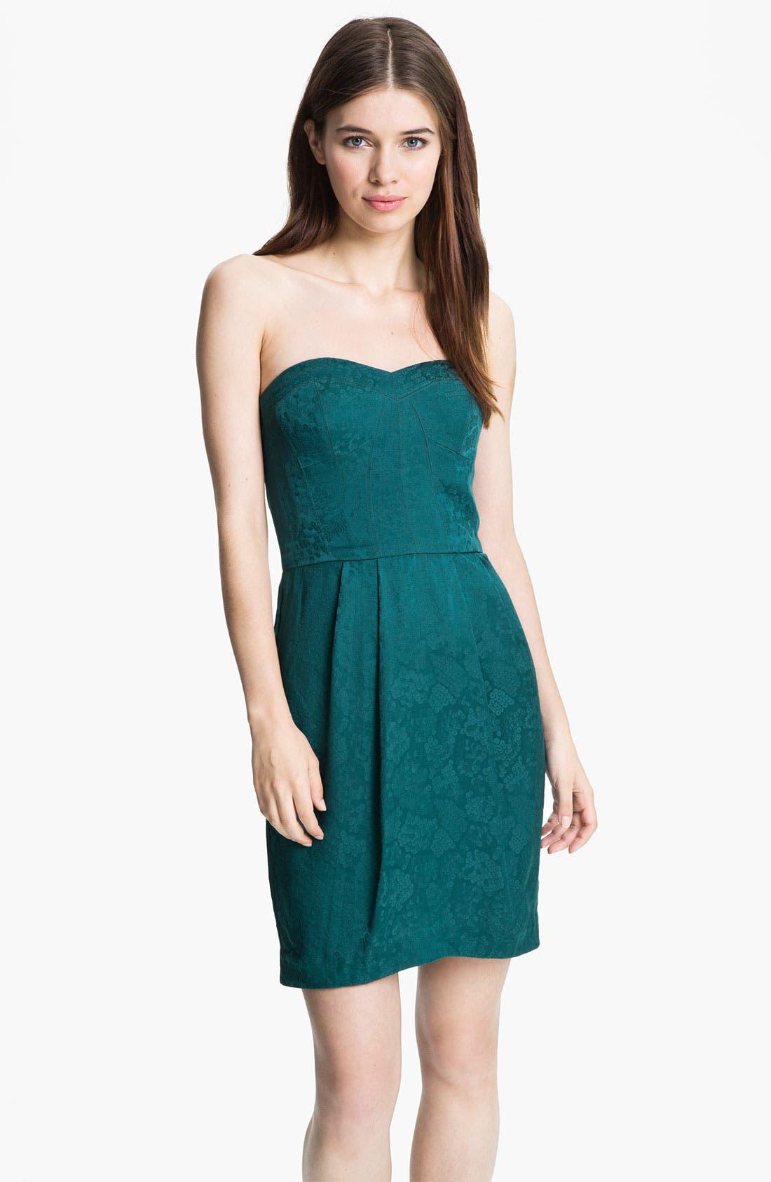 Alternate Image 1 Selected - Rebecca Taylor Jacquard Silk Sheath Dress