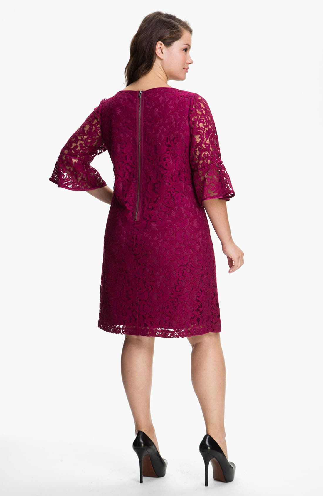 Alternate Image 2  - Adrianna Papell Satin Trim Lace Shift Dress (Plus)