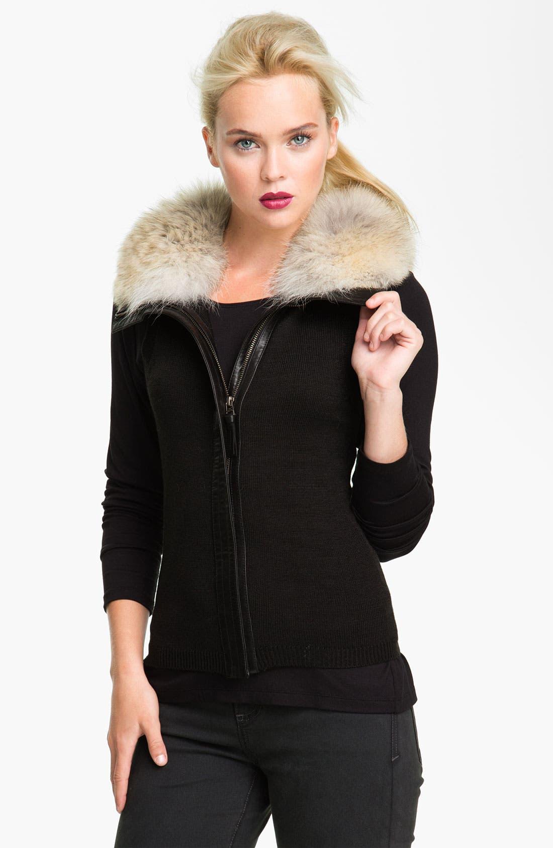 Alternate Image 3  - Mackage 'Jora' Genuine Coyote Fur Collar Leather Jacket with Removable Vest