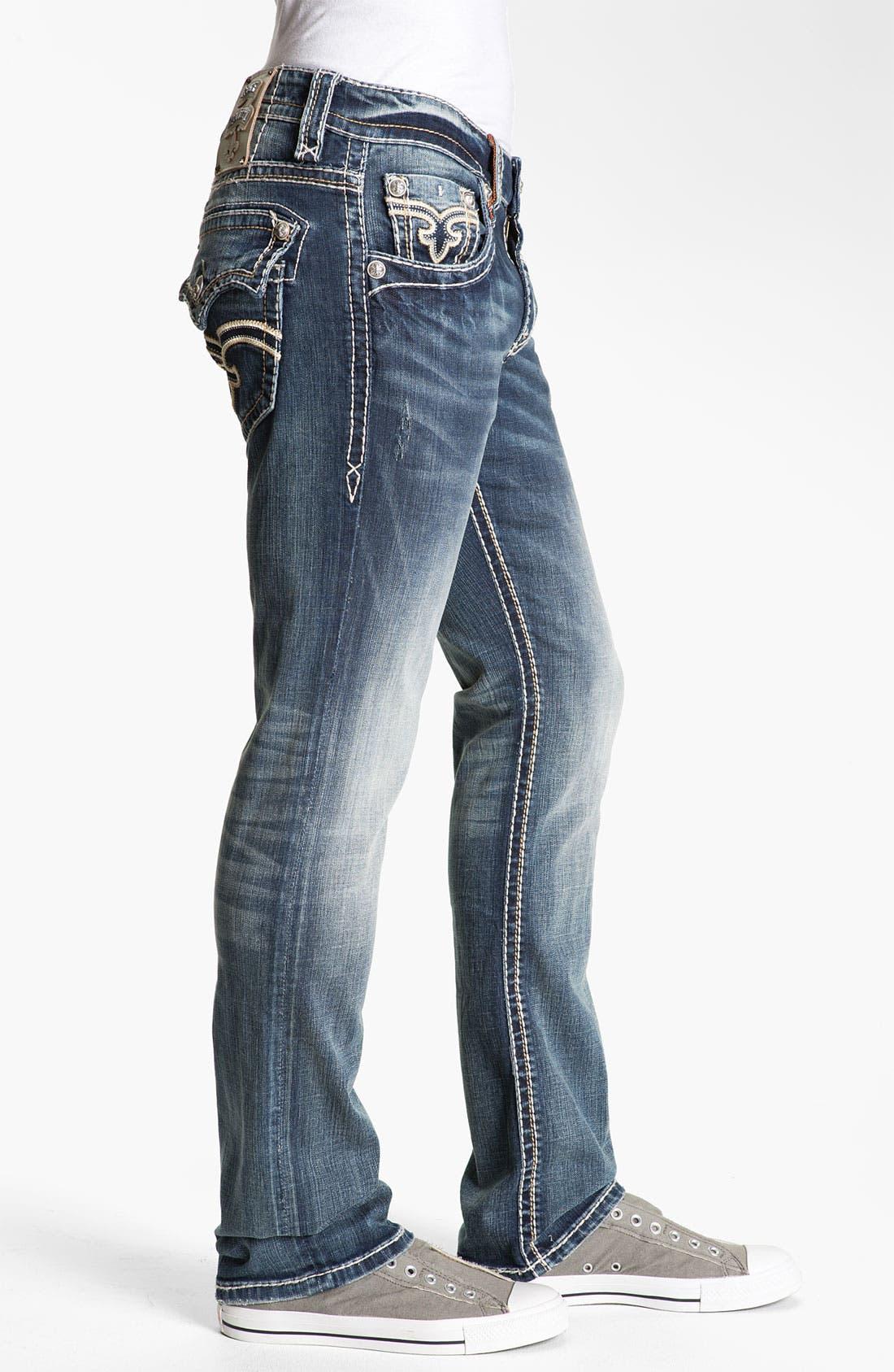Alternate Image 3  - Rock Revival 'Tony' Straight Leg Jeans (Dark Blue)