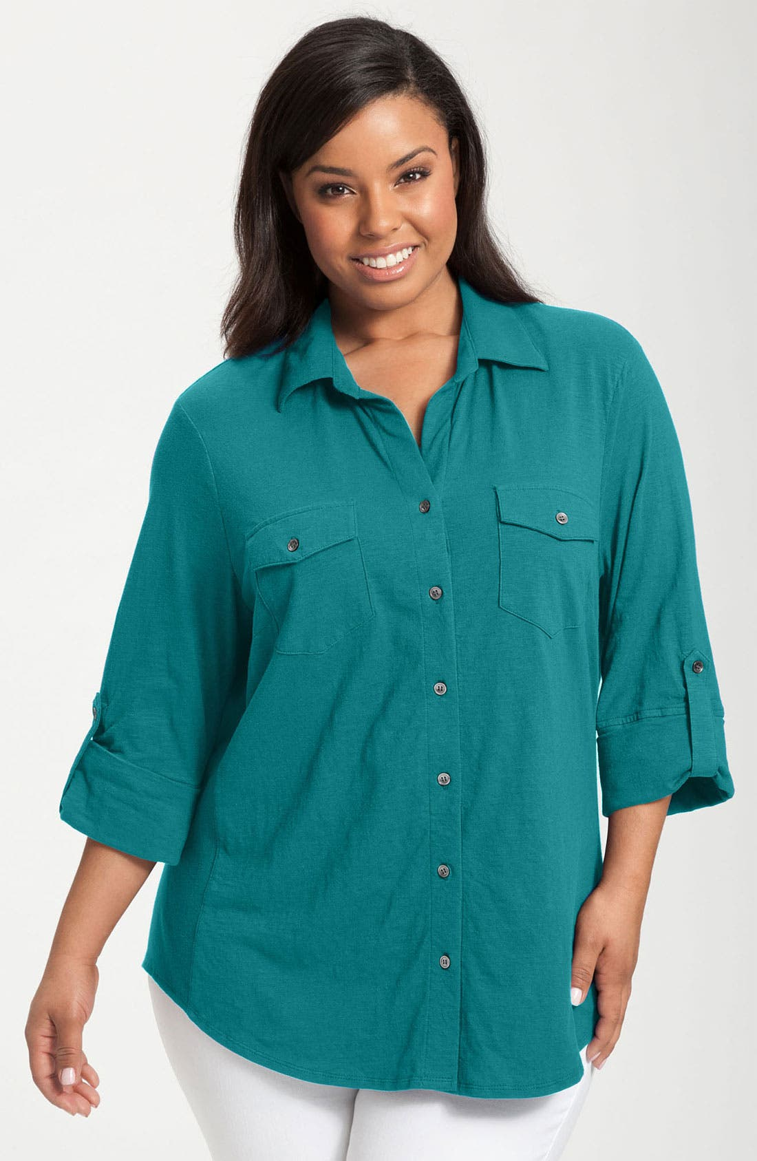 Alternate Image 1 Selected - Sandra Ingrish Roll Sleeve Knit Shirt (Plus Size)