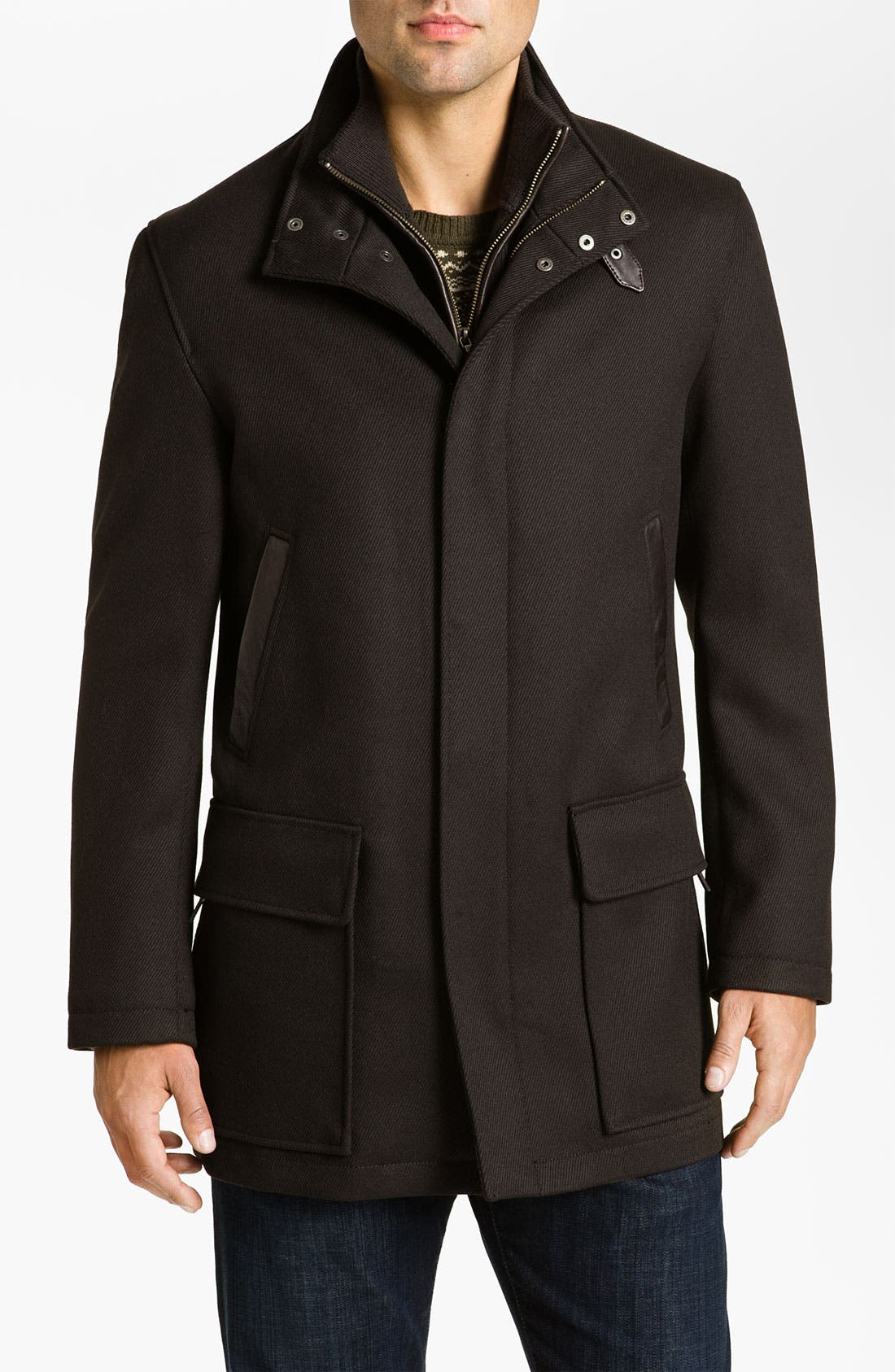 Main Image - Cole Haan Leather Trim Wool Twill Car Coat (Online Exclusive)