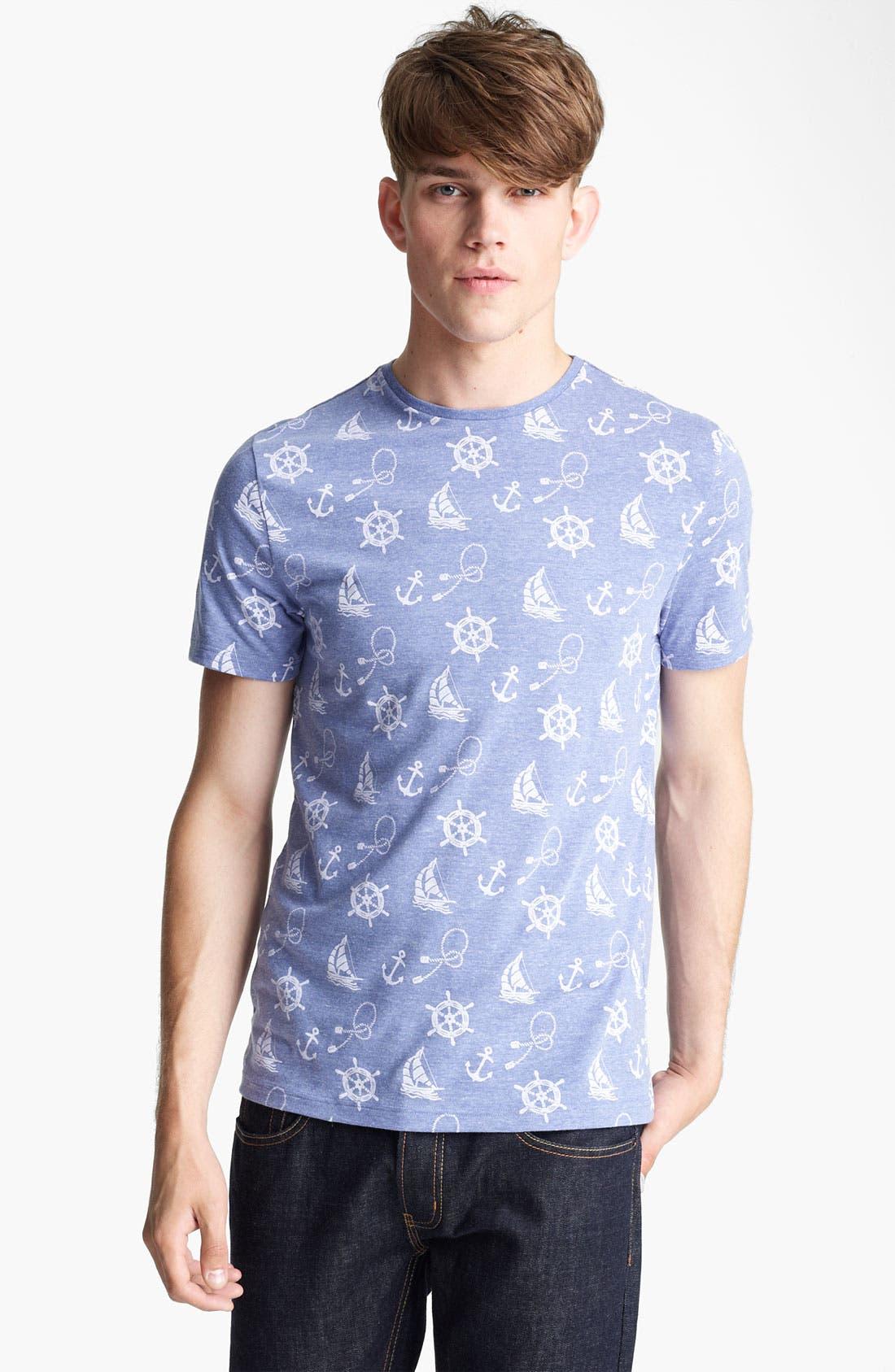 Alternate Image 1 Selected - Topman 'Nautical' All Over Print T-Shirt