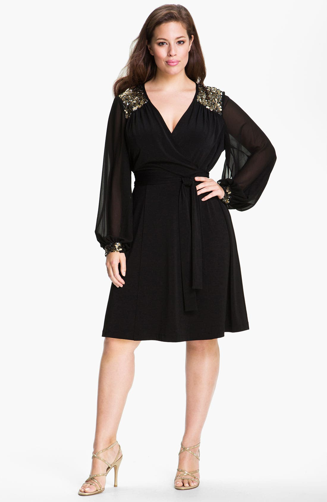 Alternate Image 1 Selected - Donna Ricco Sequined Faux Wrap Dress (Plus)