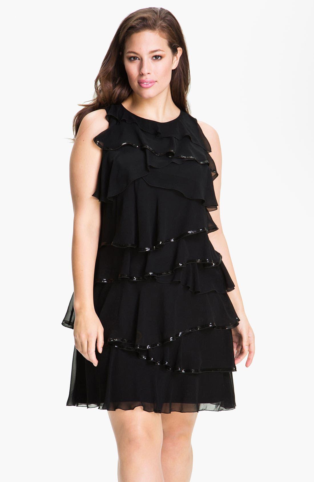 Main Image - Calvin Klein Tiered Chiffon Shift Dress (Plus)