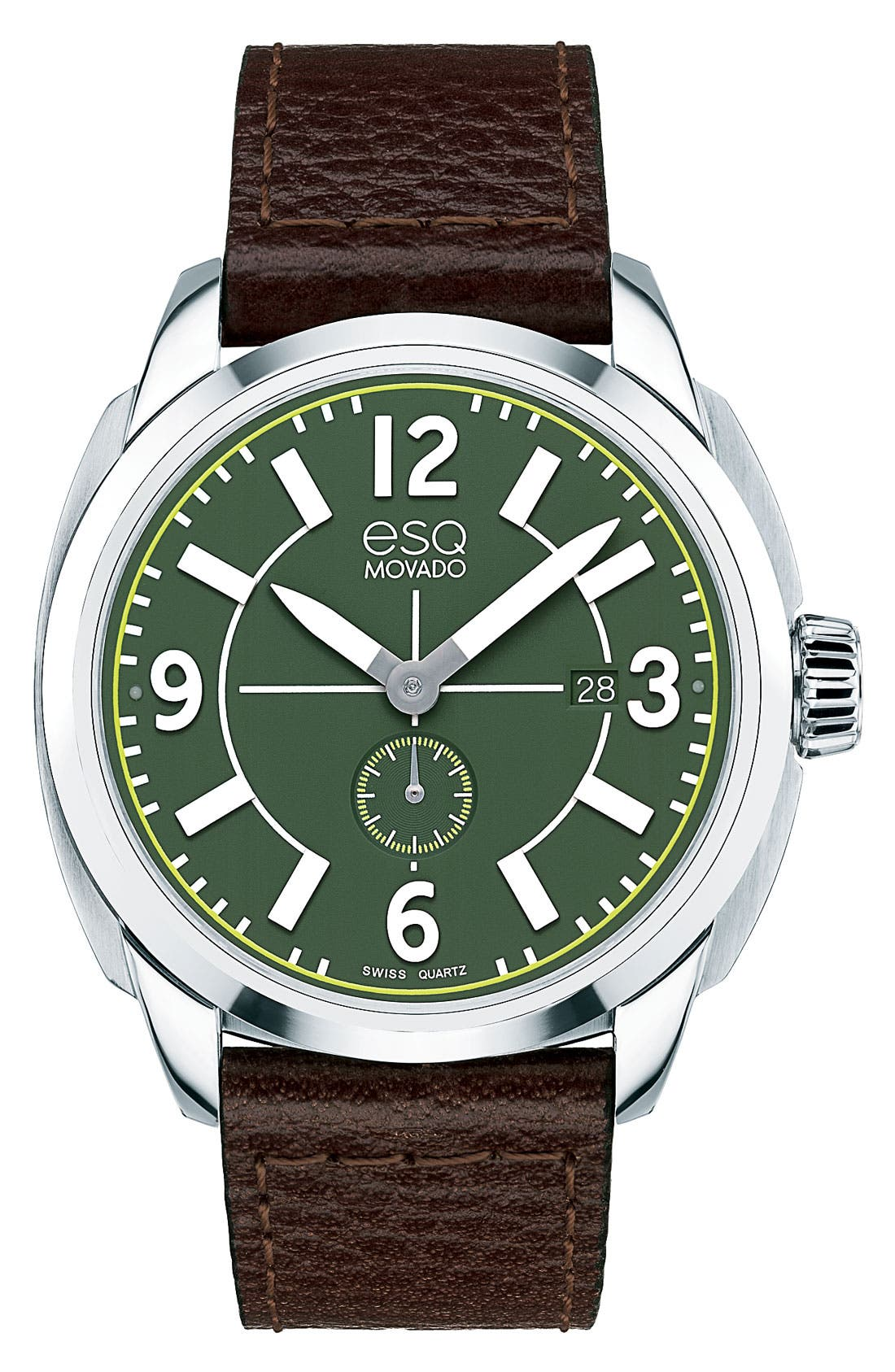 Main Image - ESQ Movado 'Excel' Round Leather Strap Watch, 43mm