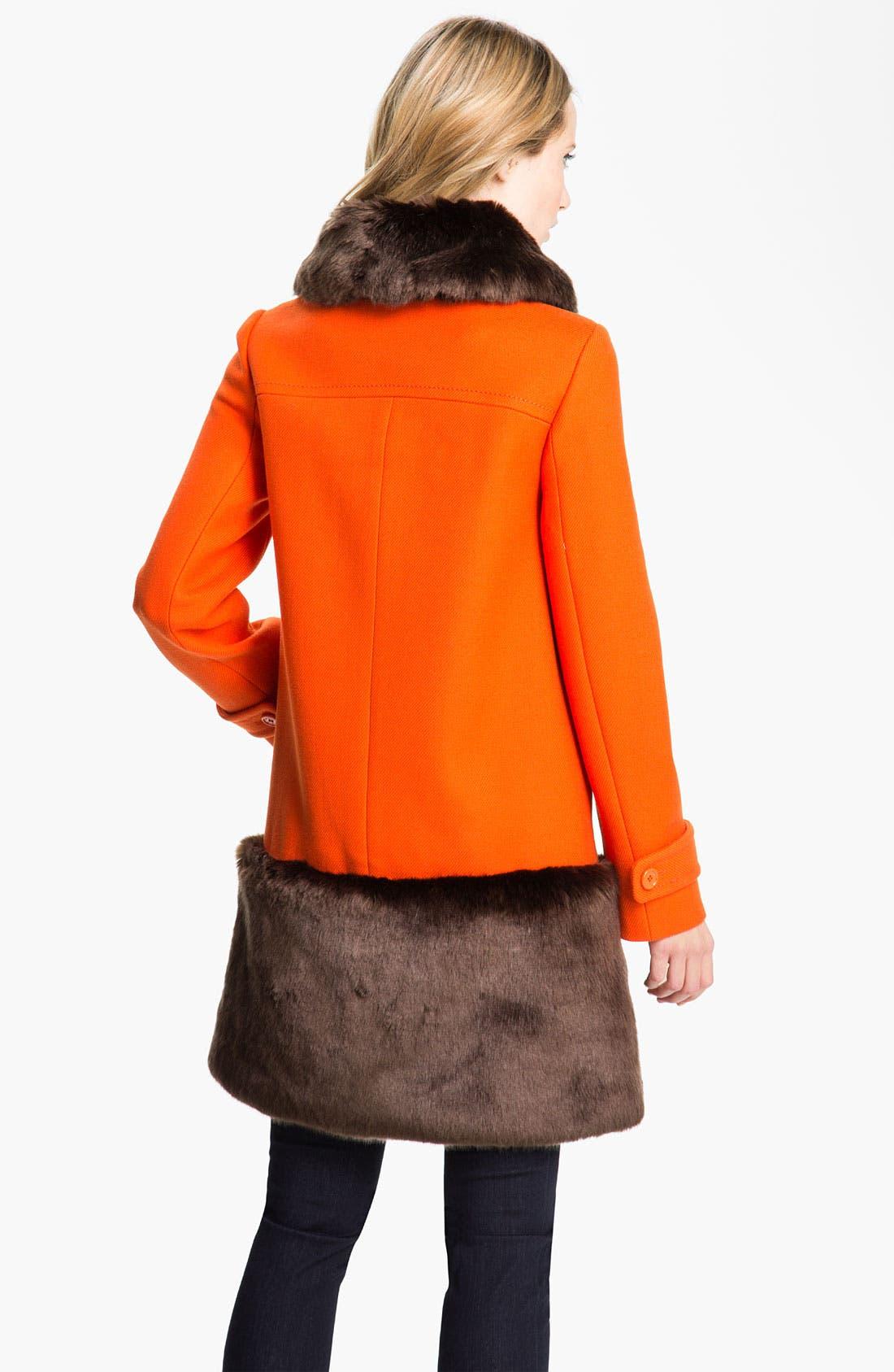 Alternate Image 2  - kate spade new york 'allie' faux fur & wool coat