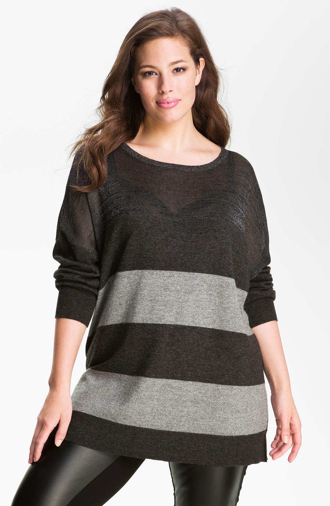 Alternate Image 1 Selected - DKNYC Striped Metallic Sweater (Plus)