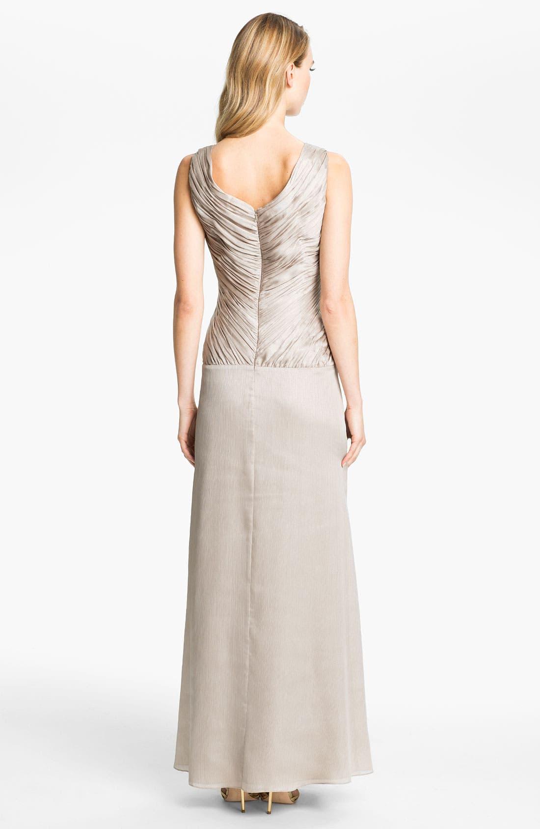 Alternate Image 2  - Calvin Klein Ruched Bodice Textured Column Gown