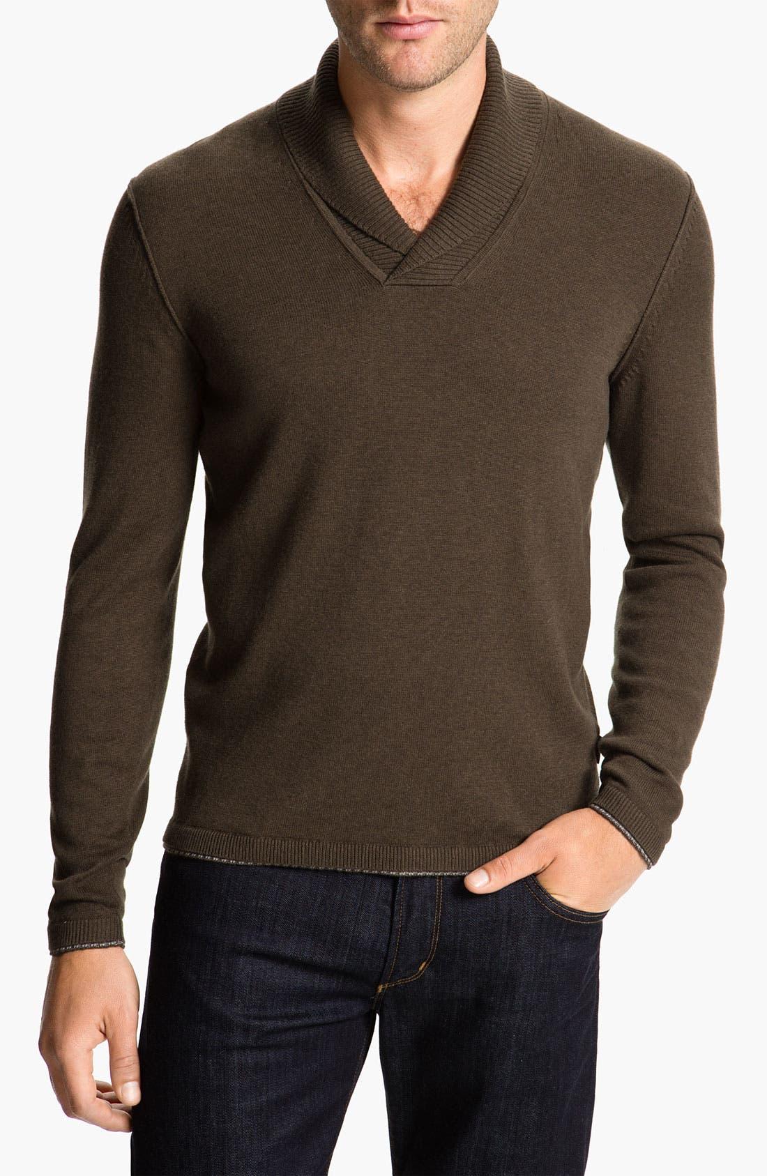 Main Image - BOSS Black 'Palas' Regular Fit Shawl Collar Cotton & Cashmere Sweater