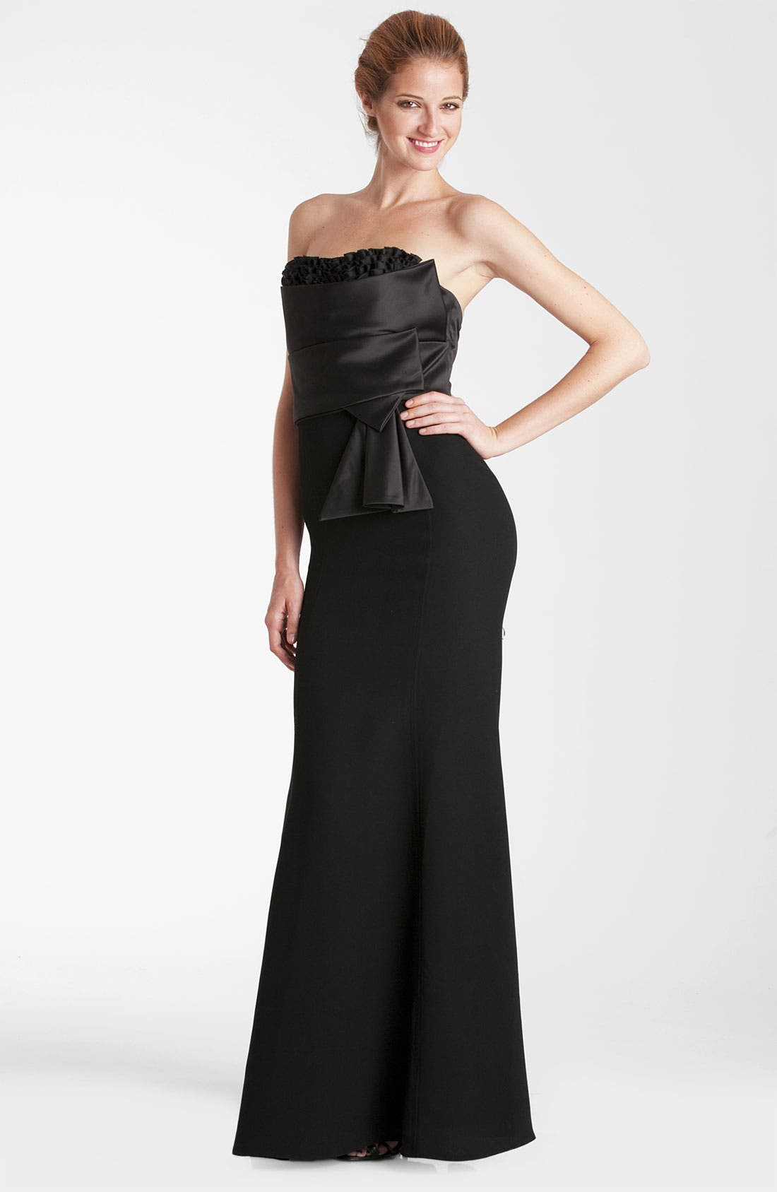 Alternate Image 1 Selected - JS Collections Satin Bodice Crepe Trumpet Gown