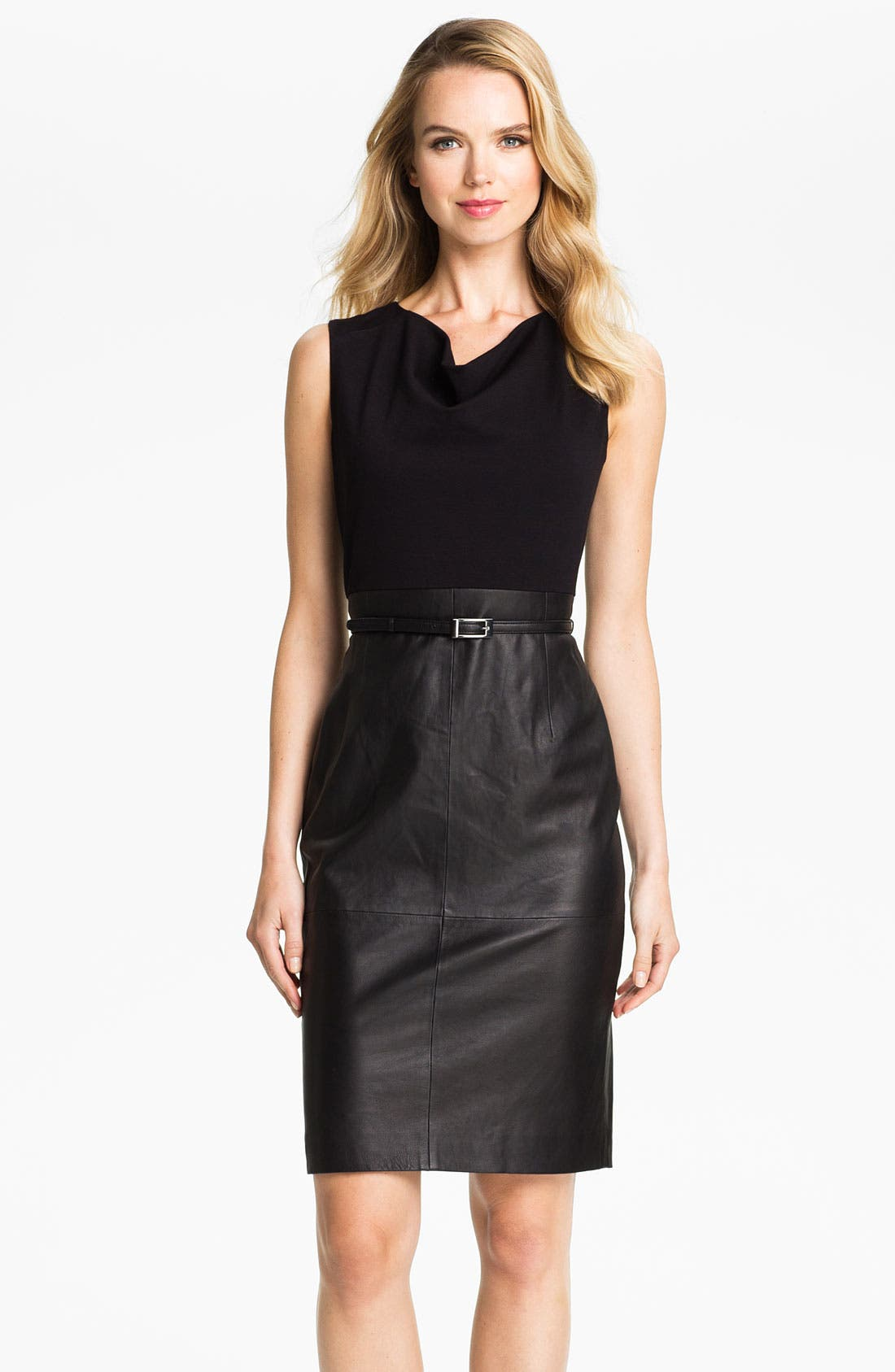 Main Image - Classiques Entier® Belted Leather & Ponte Dress