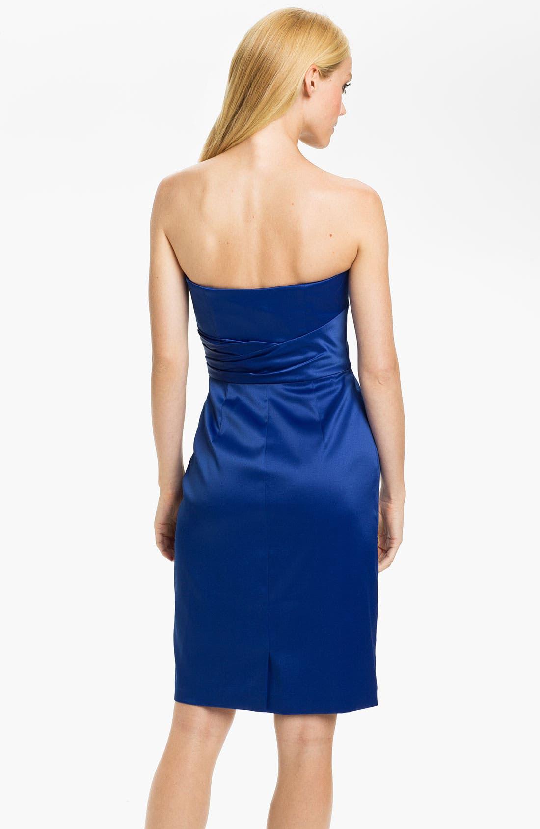 Alternate Image 2  - ML Monique Lhuillier Bridesmaids Strapless Side Pleat Dress (Nordstrom Exclusive)